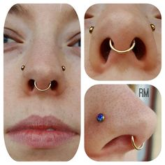 Jewelry upgrade for these healed nostril and septum piercings. Gold seam ring from & purple opal nose studs from Double Nostril Piercing, Vertical Labret Piercing, Dermal Piercing, Piercing Tattoo, Nose Jewelry, Body Jewellery, Face Piercings, Multiple Ear Piercings, Nose Rings