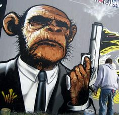 gangsta monkey...le mans 2009 in graffiti by roulet martin