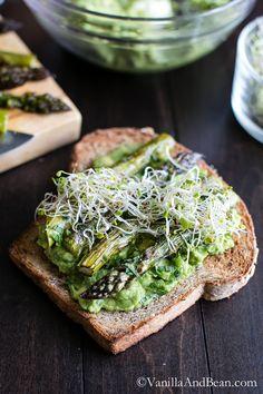 Avocado with Roasted Asparagus on Multigrain Toast
