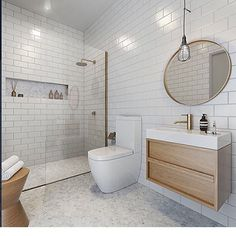 Timber and white and marble. No sign of black but we're also ok with that! Beautiful soft minimalist bathroom by @pipergroup @anplusa. Amari Apartments.