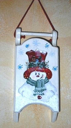 wooden sled handmade painted