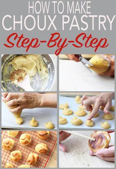 A simple choux pastry with step-by-step instructions for the home cook. You can cook profiteroles, eclairs, cream puffs, beignets and many more French pastries from this basic recipe. Desserts Français, French Desserts, Delicious Desserts, Dessert Recipes, French Food, Plated Desserts, Eclairs, Profiteroles Recipe, Cannoli