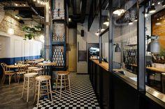 Pasta Miasta: Dining Italian Style in Gdynia, Poland Open Kitchen Restaurant, Italian Restaurant Decor, Industrial Restaurant, Cafe Restaurant, Restaurant Design, Restaurant Interiors, Decor Interior Design, Interior Decorating, Cafe Interior