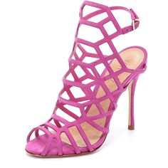 Schutz Juliana Caged Sandals featuring polyvore, fashion, shoes, sandals, heels, pink, slim shoes, schutz shoes, pink heel sandals, pink sandals and pink shoes