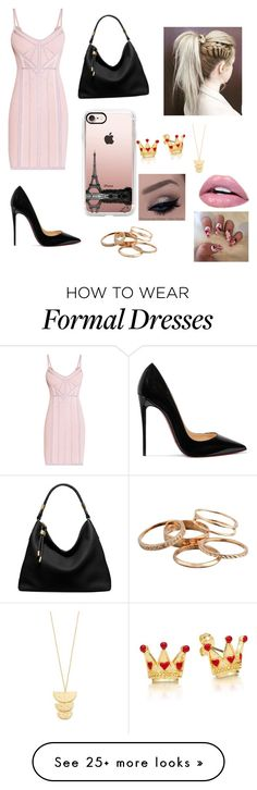 """Formal"" by luhhh2002 on Polyvore featuring Hervé Léger, Christian Louboutin, Michael Kors, Casetify, Kendra Scott and Gorjana"