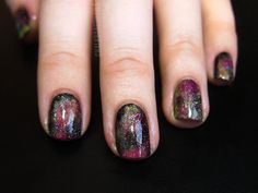 Galaxy Nails: China Glaze Liquid Leather as the base; China Glaze Happy Go Lucky and Sinful Colors Dream On; and finally China Glaze Fairy Dust in the black spaces. #nailart #galaxynails