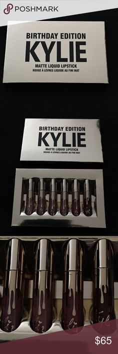 Authentic Kylie birthday edition Matte Lipstick Authentic Kylie birthday edition matte liquid lipstick 6 different matte liquid lipsticks.Brand new never used and 💯 % authentic.I have the receipt and I can send it to you for proof that it is indeed authentic.The colors are 1 Of each of the following color Exposed,Dolice K,Koko k,Candy k,Kristen and Leo.This is my last kit I have for sale.THIS IS THE REAL AUTHENTIC BIRTHDAY KYLIE KIT.THE PRICE IS FIRM YOU CAN'T GET THESE ANYMORE!!!! Kylie…