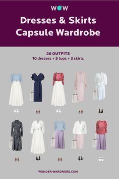 This capsule includes 10 dresses, 5 tops, 3 bottoms, 1 cardigan, 1 jacket, 3 pairs of shoes, 1 bag that result in 26 outfit combinations. Style: Romantic style with classic elements. Colour type: Summer, Winter. Season: Spring - Summer Method: Wonder Wardrobe.