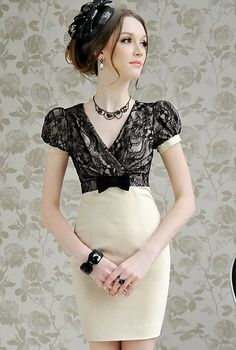 Wholesale Cute & Comfortable V-neck Lace Splicing Puff Sleeve Waist Shaping Dress----Apricot top dresses