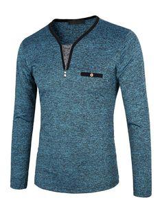 #Milanoo.com - #milanoo.com Long Sleeve T Shirt Dark Brown V Neck Long Sleeve Slim Fit Cotton T Shirt - AdoreWe.com