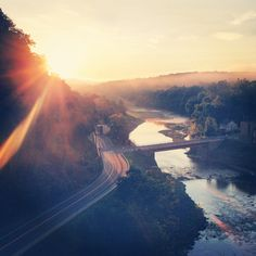 A beautiful shot of sunrise on 8/25/13 from the #Rosendale Trestle in the #HudsonValley