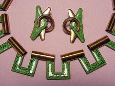 Vintage Matisse Green Enamel Necklace Earring Set Beautiful Clip Ons   eBay