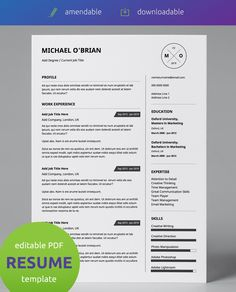 #Downloadable PDF Template  |  Professionally Designed  |  All Text is #Amendable + Supports Multiple Alphabets |  Printable | Eye Catching Design  You don't need to be a designer to have a great looking #CV.  Our #templates are super easy to #amend in a PDF reader. Unlike other templates we offer a predesigned layout in accessible format so you don't need to worry about any of the creative work or having designer software. All you need to do is add your content. It's that simple :)