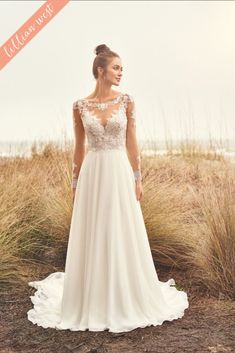 The Blushing Bride Boutique is one of the largest Retailers in Texas for Lillian West Wedding Gowns! You'll find in our Lillian West Collection an assortment of Ultra Boho Styles, Romantic … A Line Wedding Dress With Sleeves, Lace Wedding Dress, Long Sleeve Wedding, Dresses With Sleeves, Allure Bridals, Lillian West Wedding Gowns, Fit And Flair, Affordable Wedding Dresses, A Line Gown