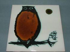 Lovely midcentury owl tile by Ann Wynn Reeves for H & R Johnson Ltd in Pottery, Porcelain & Glass, Pottery, Studio | eBay!