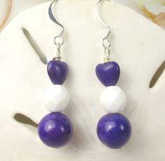 Purple heart white dangle earrings magnesite by beadwizzard