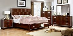 "5 pc Safire collection contemporary style brown cherry finish wood storage platfrom queen bedroom set.  This set includes the Bed, Nightstand, Dresser, Mirror, and Chest.  Bed measures 85 1/2"" x 64 3/4"" x 63"" H.  Nightstand measures 28"" x 16 1/4"" x 28"" H.  Dresser measures 64"" x 17 1/2"" x 37 3/8"" H.  Mirror measures 46"" x 37 1/2"" x 1 1/8"" D.  Chest measures 40"" x 17"" x 54"" H.  Also av..."