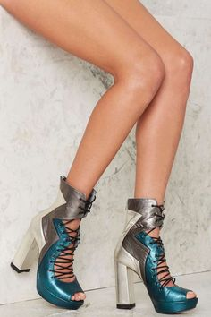 Nasty Gal Metal Me Halfway Leather Heels - Blue - Heels | Platforms | Sale: 40% Off | Boots | Platforms | Sale on Sale-Up to 80% off | Shoes