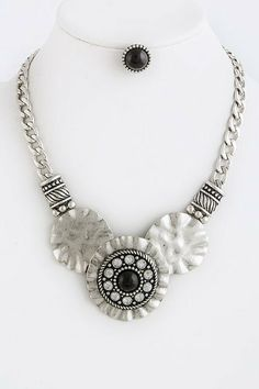 """Black Bead Embedded Silver Disk Statement Necklace - Silver Disk Drape Necklace With Black Embedded Bead StarShine Jewelry. $22.10. Lobster claw clasp with 3"""" extender. Bead embedded metal disk necklace. Lead compliant. Length approx 19"""""""