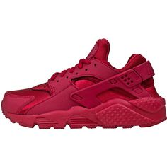 Nike Women's Air Huarache Run (Gym Red) ($110) ❤ liked on Polyvore featuring shoes, athletic shoes, nike, sneakers, nike athletic shoes, red athletic shoes, nike footwear and red shoes