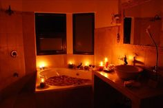 Bathroom, Inspiring Romantic Bathroom Valentines Day Ideas With Candle Lighting And Rose Inside Bathtub Design: Amorous Valentine's Day Bathroom Ornamenting Plans
