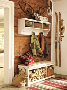 How to Organize Your Crowded Cabin Entryway - Cabin Life Magazine......ohhhhhh yesss.....for my soon coming dream home in the woods!