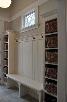 Mudroom with Coat Hooks, Shelves (Attach a Name to Each Basket?) with Bench…