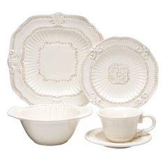 Baroque 20 Piece Dinnerware Set - Cream $79 -- great neutral set from target