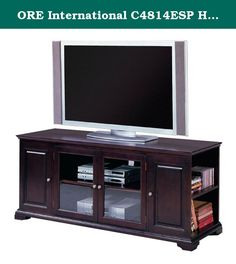 ORE International C4814ESP Harris Entertainment Console, Espresso. This Handsome Espresso Console is a Great Way to Showcase Your Home Theater holding most TV's up to 62 inches, weighing 240 pounds or less. Adjustable shelf holds audio/visual equipment with additional storage behind lower cabinets. Two open side cabinets hold 20 VHS tapes, 48 CDs or 38 DVDs.