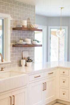 Custom Jkath Design Build Cabinetry :: Benjamin White Dove Paint :: Berenson Gold Hardware :: @Cambria Torquay ™ Countertops :: Jeffrey Court Back Splash Tile