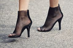 net heels - very sexy - probably not very comfortable but great impact!