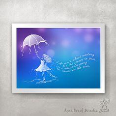 Dance in the rain Quote PRINT / Graduation Gift / Inspirational Girl Room Decor / Motivational Art / Typography Print // 5x7 / 8x10 / 11x14