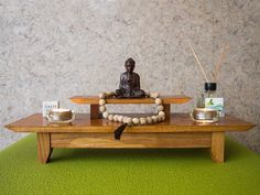 Small Personal Puja-style Floor Shrine Table Altar by YogaGoPro (Items on the altar not included). This small Shrine table altar is designed to be set on the floor where it can accentuate your… Meditation Room Decor, Meditation Cushion, Yoga Decor, Relaxation Room, Meditations Altar, Home Renovation, Personal Altar, Japanese Table, Yoga At Home