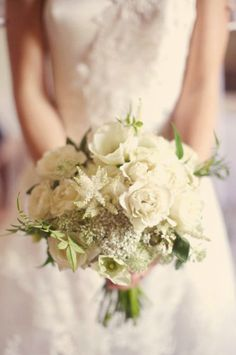 Beautiful wild flower white rose bouquet from Reverie Magazine