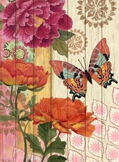 Wood painting, butterfly and flowers Vintage Diy, Vintage Paper, Butterfly Flowers, Beautiful Butterflies, Vintage Pictures, Vintage Images, Paper Art, Paper Crafts, Decoupage Printables