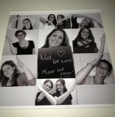 Lief kaartje met persoonlijke foto`s die een hart vormen