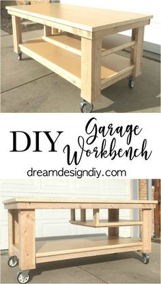 Need to update the space in your garage? This large Garage Workbench is perfect . Need to update the space in your garage? This large Garage Workbench is perfect for working on proj Workbench On Wheels, Rolling Workbench, Workbench Plans Diy, Mobile Workbench, Woodworking Workbench, Woodworking Projects Diy, Diy Wood Projects, Woodworking Shop, Workbench Top