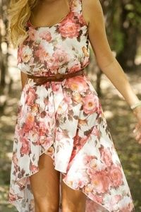 Flower summer dress. I'd like it more if the front was longer.