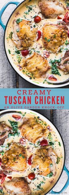 Creamy Tuscan Chicken Thighs is a 30 minute meal that the whole family goes crazy for!  #dinner #easydinner #chicken #chickenthighs #30minutemeal #olivegarden #copycat #recipe  via @https://www.pinterest.com/slmoran21/