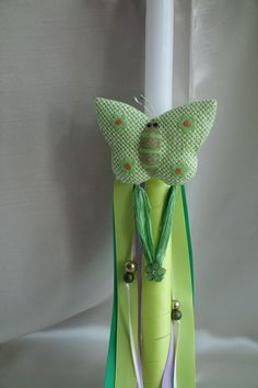 Green Fairy Butterfly Easter Candle-Labada by pinelopiCreations