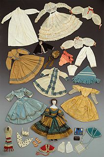 Doll and its trousseau, made by the dressmaker Eliza Lefferts ca. 1864, now in the Brooklyn Museum.