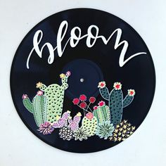 Cactus Wall Decor Bloom Painting Painted Vinyl Record Arizona Decor Cacti  Home Decor bc1c4369b