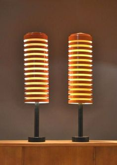 Hans-Agne Jakobsson; Plastic and Enameled Metal 'Disc' Table Lamps for Svera, 1960s.
