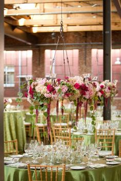 Hanging centerpieces that resemble hanging planters could be an unexpected touch at your spring wedding