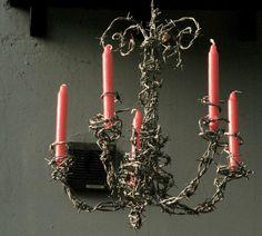 Barbed-wire candelabra