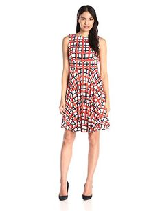 Donna Morgan Women's Sleeveless Printed Jersey Fit and Flare