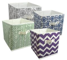 DII Foldable Fabric Storage Bins for Nursery, Offices, Home, Containers are Made to Fit Standard Cube Organizers, Small - 11 x 11 x Starburst Blueberry