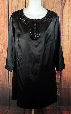 Michael Kors Black Long Sleeve Dress with Beaded Embellishments Womens Size 8