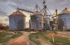 "David Boyd, Jr. AIS OPA on Instagram:  6x9 gouache on paper. Some grain bins in Murray, Kentucky at the end of the day. Available through the…"" Gouache, Kentucky, Jr, Grains, David, Industrial, Watercolor, Paper, Painting"