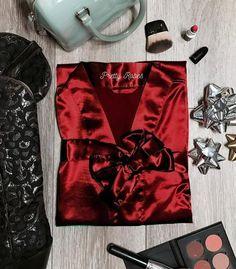 Crimson Satin Kimono Robe - PrettyRobes.com